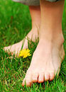 Natural Foot Care/Bare Feet On Grass