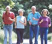 Seniors Group of Four Walkin