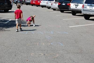 My grandchildren drew an official finish line for us